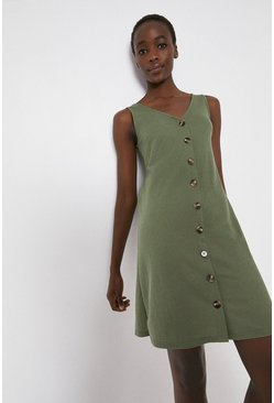 Khaki Pique Button Through Short Dress
