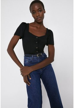 Black Pique Sweetheart Neck Top