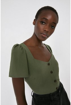 Khaki Pique Sweetheart Neck Top