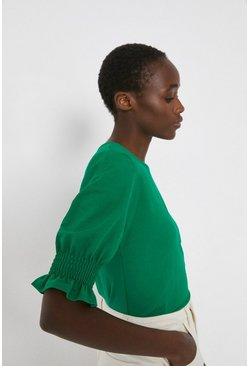Bright green Pique Shirred Cuff Top