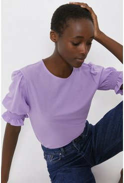 Purple Pique Shirred Cuff Top