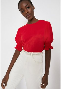Red Pique Shirred Cuff Top