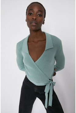 Sage Wrap Jumper With Collar