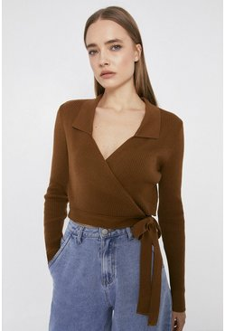 Tan Wrap Jumper With Collar