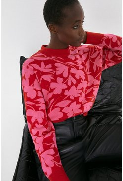 Red Floral Brush Stroke Jumper