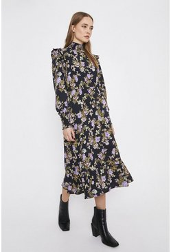 Black High Neck Floral Smock Midi Dress