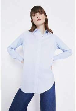 Blue Dip Back Shirt In Stripe Cotton