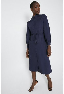 Navy Shirt Dress With Channel