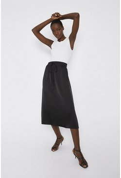 Black Midi Skirt In Satin