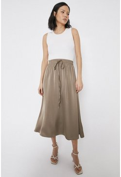 Khaki Midi Skirt In Satin