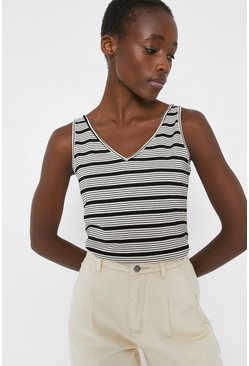Blackwhite Stripe V Neck Vest