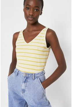 Yellow Stripe V Neck Vest