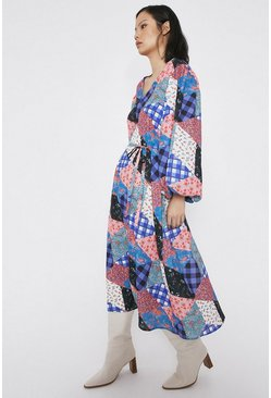 Multi Midi Dress In Patchwork Print