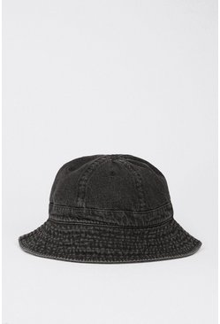 Black Denim Wash Bucket Hat