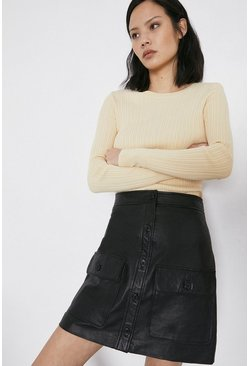 Black Pocket Detail Real Leather Pelmet Skirt