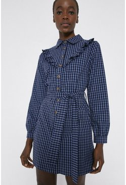Blue Check Frill Front Belted Shirt Dress