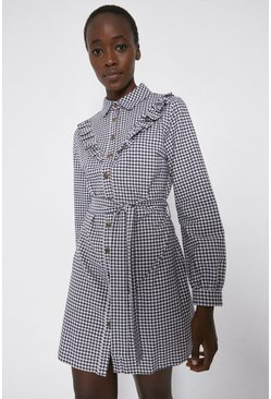 Mono Check Frill Front Belted Shirt Dress