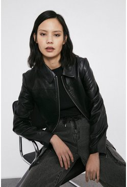 Black Real Leather Bomber Jacket