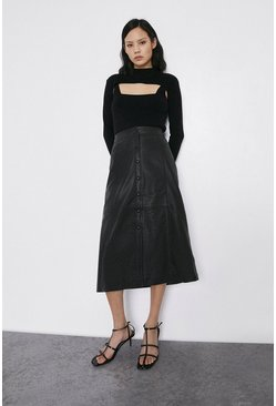 Black Real Leather Popper Front Midi Skirt