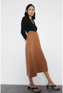 Light tan Real Leather Popper Front Midi Skirt