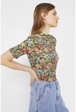 Black Printed Funnel Neck Half Sleeve Top