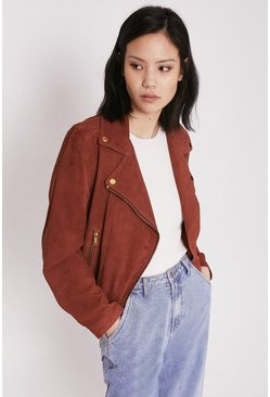 Rust Real Suede Buckle Side Biker Jacket