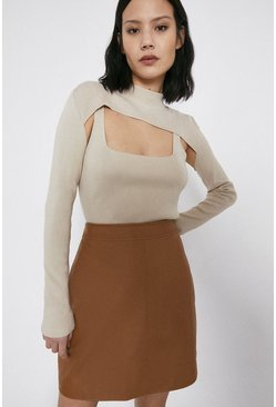 Light tan Real Leather Pelmet Skirt