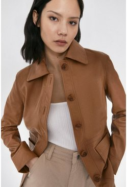Light tan Real Leather Button Through Jacket