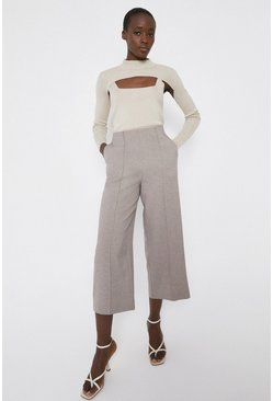 Natural Textured Wide Crop Trouser