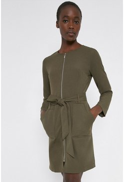 Khaki Zip Front Crepe Dress