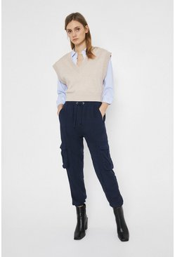 Navy Soft Tencel Cargo Trouser