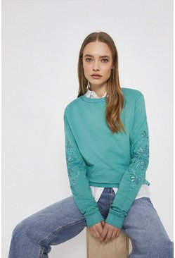 Sage Cutwork Sweat