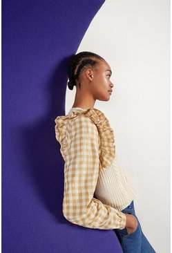 Cream Check Sleeve Cable Jumper