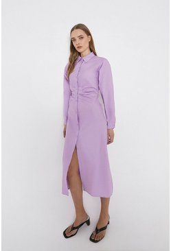 Lilac Cotton Dress With Ruching