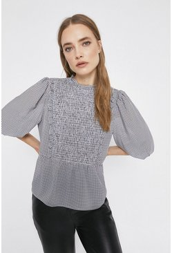 Black Gingham Top With Bib Detail