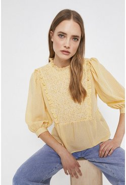 Yellow Gingham Top With Bib Detail
