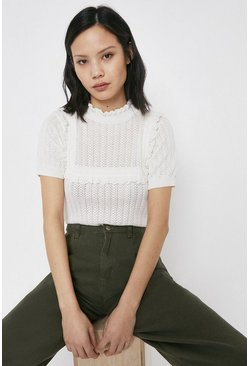 Ivory Broderie Trim Ruffle Knitted Tee