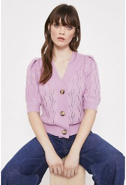 Lilac Pointelle Stitch Short Sleeve Cardigan
