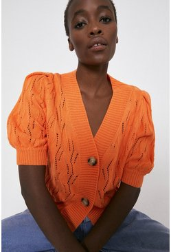 Orange Pointelle Stitch Short Sleeve Cardigan
