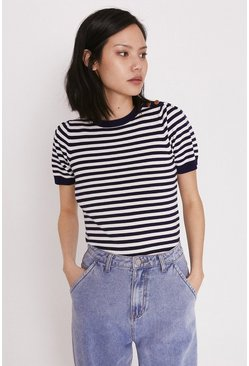 Navy Breton Short Sleeve Knit Jumper