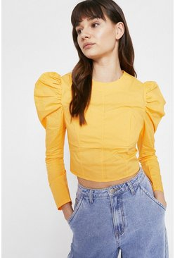 Orange Top With Corset Detail
