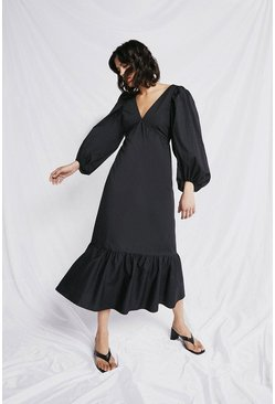 Black Maxi Dress In Cotton With Frill Hem