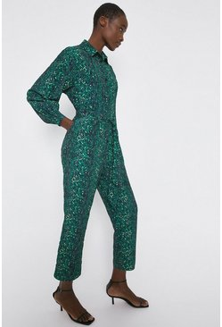 Green Jumpsuit In Snake Print