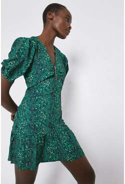 Green Tea Dress In Snake Print