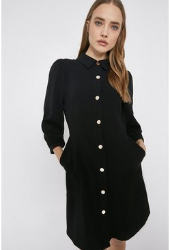 Black Crepe Button Through Shirt Dress