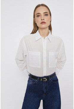White Textured Shirt With Pockets