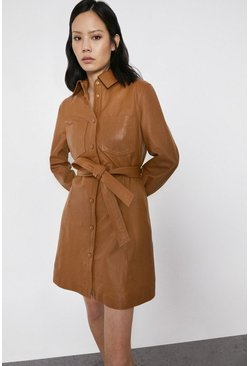 Tan Real Leather Shirt Dress