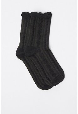 Black Frill Trim Socks
