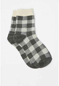 Light grey Gingham Socks
