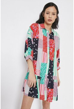 Multi Swing Shirt Dress In Patchwork Print